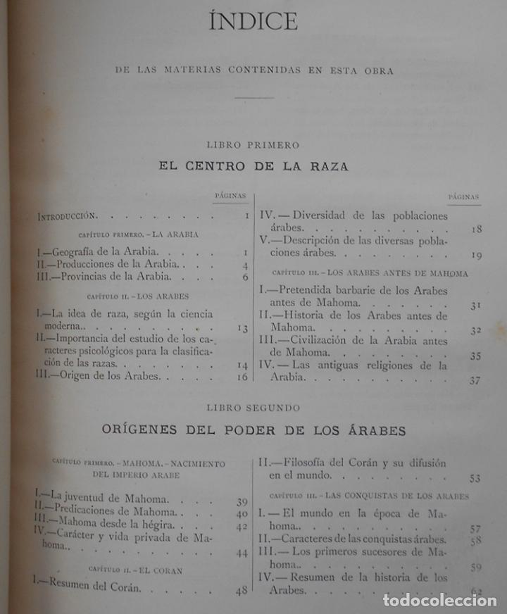 Libros antiguos: PCBROS - LA CIVILIZACIÓN DE LOS ÁRABES - GUSTAVO LE BON - ED. MONTANER Y SIMÓN EDITORES - 1886 - Foto 22 - 88886160