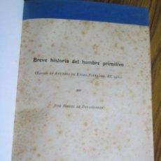 Libros antiguos: BREVE HISTORIA DEL HOMBRE PRIMITIVO - EXTRACTO DEL ANUARIO DE EUSKO FOLKLORE XI 1931 - BARANDIARÁN. Lote 89402220
