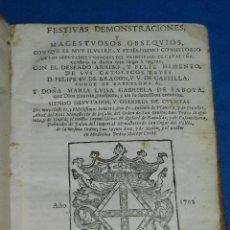 Libros antiguos: (3.6) FESTIVAS DEMONSTRACIONES Y MAGESTUOSOS OBSEQUIOS PRINCIPADO DE CATALUÑA CELEBRO 1702. Lote 91148610