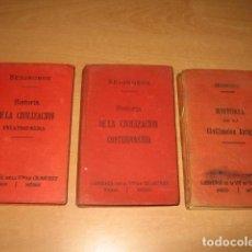 Libros antiguos: 3 LIBROS HISTORIA CIVILIZACION EDAD MEDIA CONTEMPORANEA ANTIGUA , SEIGNOBOS ED. BOURET AÑO 1913. Lote 91748735