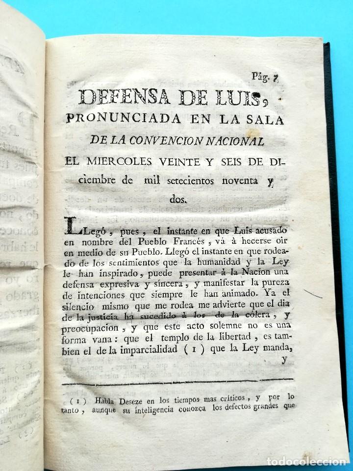 REVOLUCION FRANCESA,LIBRO DEFENSA DE LUIS XVI,AÑO 1793, SI.XVIII,REY DE FRANCIA MUERTO EN GUILLOTINA (Libros antiguos (hasta 1936), raros y curiosos - Historia Antigua)