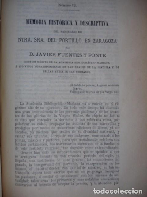 MEMORIA HISTORICA Y DESCRIPTIVA DEL SANTUARIO DEL PORTILLO EN ZARAGOZA .FUENTES Y PONTE.LERIDA 1881 (Libros antiguos (hasta 1936), raros y curiosos - Historia Antigua)