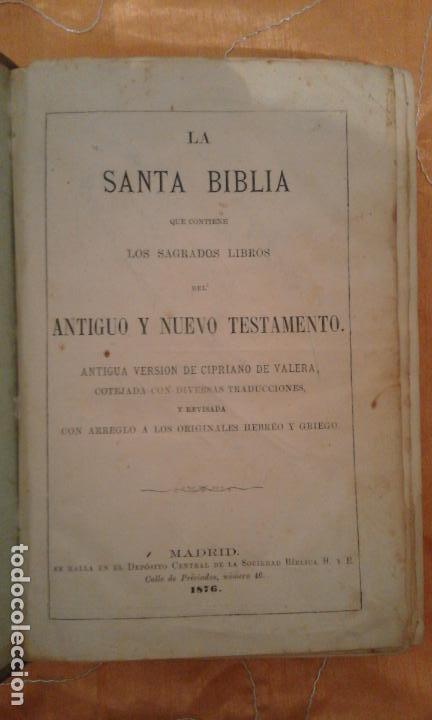 Libros antiguos: LA SANTA BIBLIA·ANTIGUA VERSION DE CIPRIANO DE VALERA AÑO 1876 - BIBLIA PROTESTANTE. - Foto 3 - 95226311