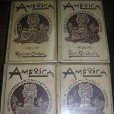 Libros antiguos: (F.1) LOTE DE CUATRO TOMOS DE LA HISTORIA DE AMÉRICA POR RODOLFO CRONAU AÑO 1892. Lote 97194411