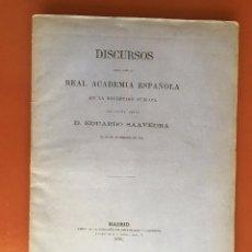 Libros antiguos: DISCURSOS- EDUARDO SAAVEDRA 1.878. Lote 99521055