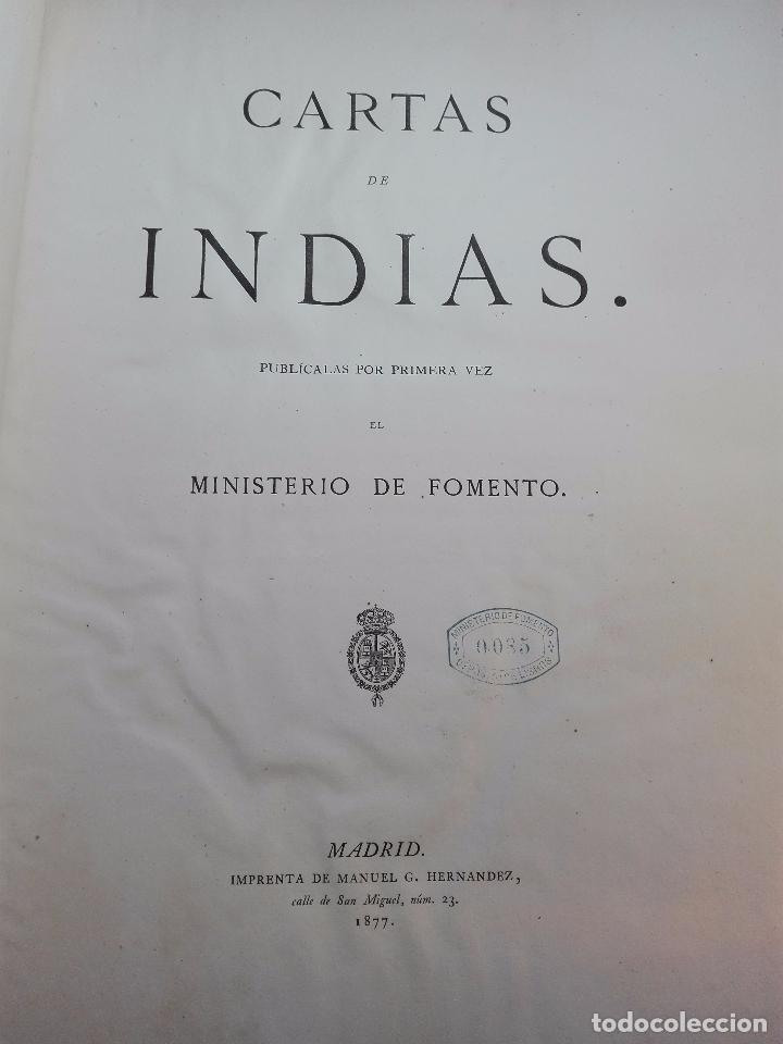 Libros antiguos: CARTAS DE INDIAS - PUBLÍCALAS POR PRIMERA VEZ EL MINISTERIO DE FOMENTO - TOMOS I Y II- MADRID -1877 - Foto 4 - 100177675