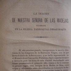 Libros antiguos: NUESTRA SEÑORA DE LAS MADEJAS IGLESIA SAN ROQUE SEVILLA ALONSO MORGADO .AÑO 1882. Lote 100917463