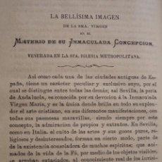Libros antiguos: NUESTRA SEÑORA MISTERIO INMACULADA CONCEPCION IGLESIA METROPOLITANA SEVILLA A. MORGADO .AÑO 1882. Lote 100924267