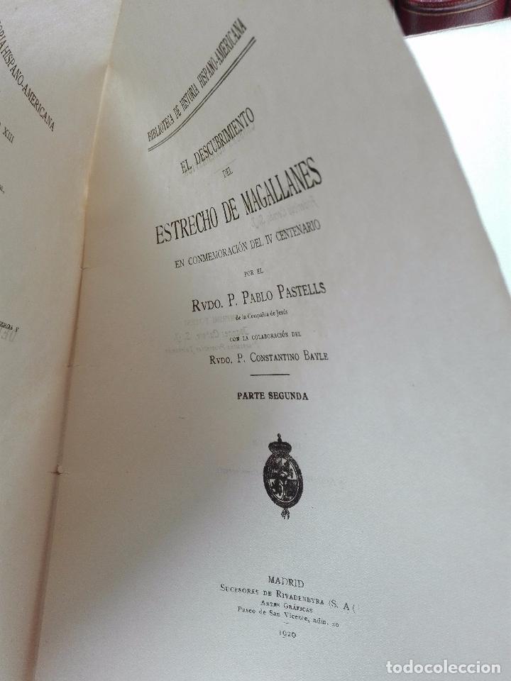 Libros antiguos: EL DESCUBRIMIENTO DEL ESTRECHO DE MAGALLANES - IV CENTENARIO - . P. PABLO PASTELLS - 2 TOMOS - 1920 - Foto 13 - 101469379