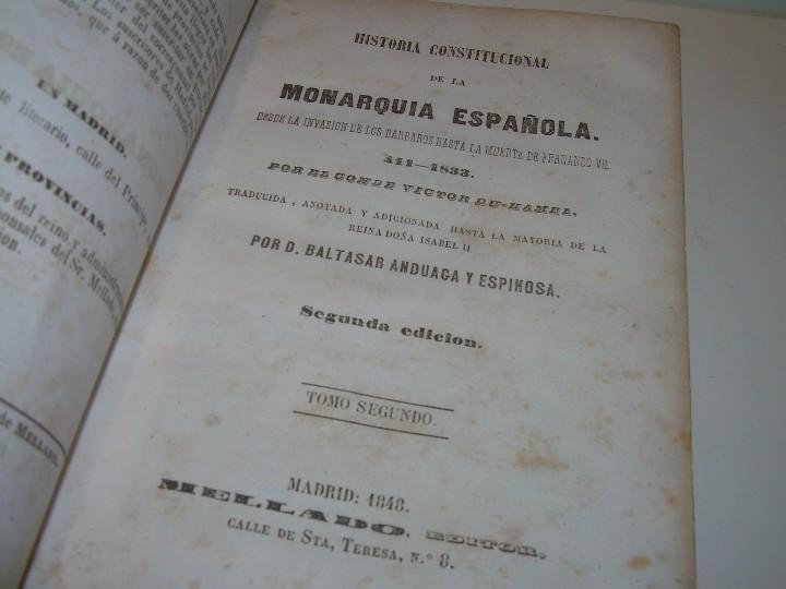 Libros antiguos: DOS TOMOS HISTORIA DE LAS MONARQUIAS ESPAÑOLAS DESDE EL 411 AL 1833.....AÑO 1848 - Foto 12 - 105618019