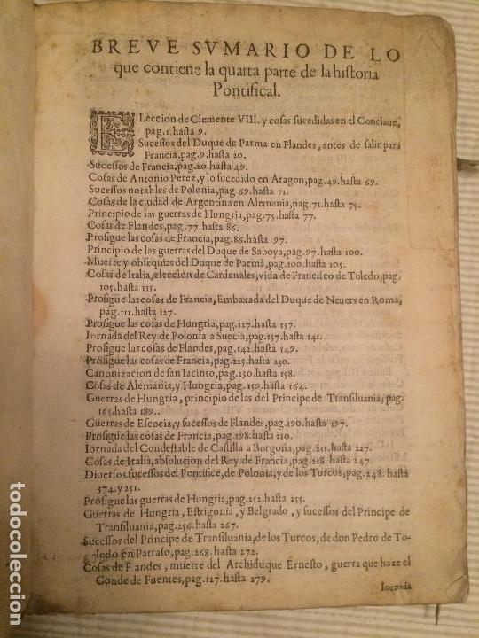 Libros antiguos: Historia Pontifical y Catolica - Quarta parte - 1613 - Ex-libris San Benito Salamanca - Foto 5 - 107809171
