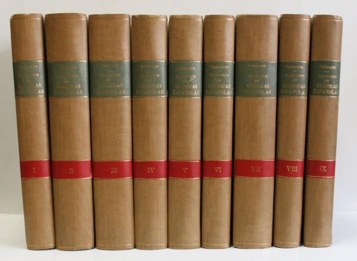 COLECCIÓN DE CRÓNICAS ESPAÑOLAS. - MATA CARRIAZO, JUAN DE. 9 VOLÚMENES. LÁMINAS Y MAPAS. 1940-1946. (Libros antiguos (hasta 1936), raros y curiosos - Historia Antigua)