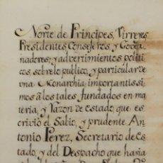 Libros antiguos: [MANUSCRITO] NORTE DE PRINCIPES, VIRREYES, PRESIDENTES, CONSEJEROS Y GOVERNADORES; Y ADVERTIMIENTOS. Lote 109023850