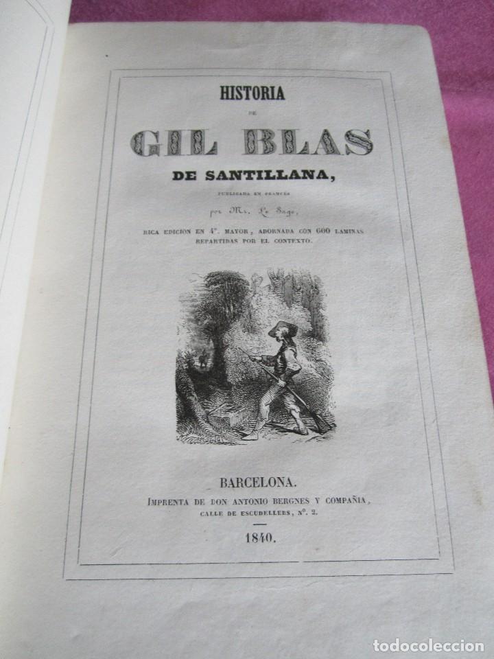 Libros antiguos: HISTORIA DE GIL BLAS DE SANTILLANA. - LESAGE, ALAIN RENÉ. 1840 OBRA COMPLETA CORTES TINTADOS - Foto 3 - 109756515