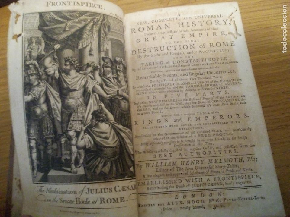 ROMAN HISTORY. WILLIAM HENRY MELMOTH 1782 (Libros antiguos (hasta 1936), raros y curiosos - Historia Antigua)