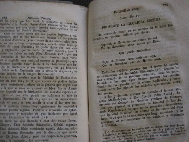Libros antiguos: BARCELONA CAUTIVA- ABRIL 1809 - CUADERNO 15- INCLUYE GRABADO VIVA FERNANDO VII-VER FOTOS-(V-13.352) - Foto 14 - 111606359