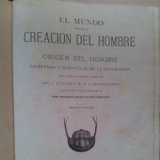 Libros antiguos: EL MUNDO ANTES DE LA CREACION DEL HOMBRE, ORIGEN DEL HOMBRE - TOMO I TERCERA EDICIÓN 1880. Lote 113447079