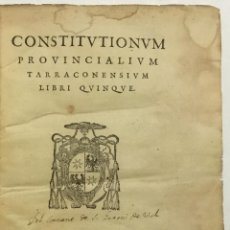 Libros antiguos: CONSTITUTIONUM PROVINCIALIUM TARRACONENSIUM LIBRI QUINQUE. TARRAGONA, 1580.. Lote 112435128