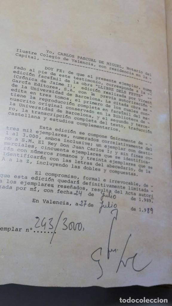 Libros antiguos: EL LLIBRE DELS FEYTS : CRONICA DE JAUME I.(facsimil.) - Foto 8 - 113940391