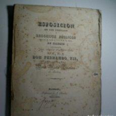 Libros antiguos: ESPOSICION DE LOS FESTEJOS Y REGOCIJOS PÚBLICOS QUE LA M.N.M.L.I.C. Y M. H. VILLA DE MADRID...1829. Lote 114504295