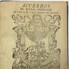Libros antiguos: ACUERDOS DE JUNTAS GENERALES DE ESTE M.- N. Y M. L. SEÑORIO DE VIZCAYA,.... GUERNICA. C.1793. Lote 114154460