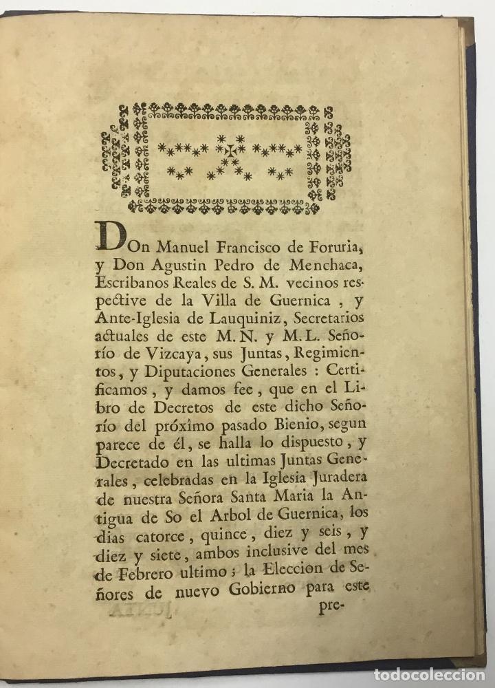 Libros antiguos: ACUERDOS DE JUNTAS GENERALES DE ESTE M.- N. Y M. L. SEÑORIO DE VIZCAYA,.... GUERNICA. C.1793 - Foto 2 - 114154460