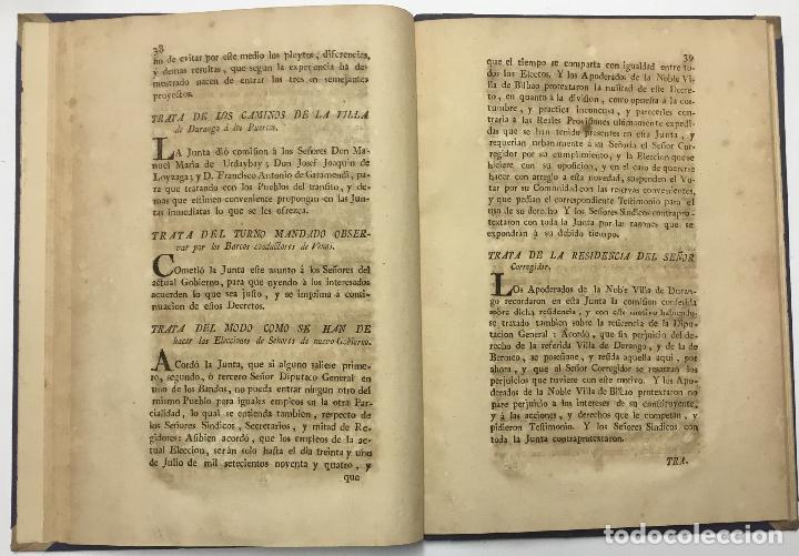 Libros antiguos: ACUERDOS DE JUNTAS GENERALES DE ESTE M.- N. Y M. L. SEÑORIO DE VIZCAYA,.... GUERNICA. C.1793 - Foto 5 - 114154460