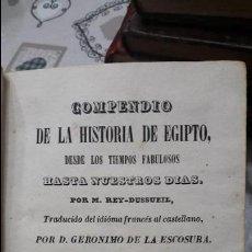 Libros antiguos: COMPENDIO DE LA HISTORIA DE EGIPTO DESDE LOS TIEMPOS FABULOSOS. M.REY-DUSSUEIL. V. LALAMA. 1842. Lote 114740739