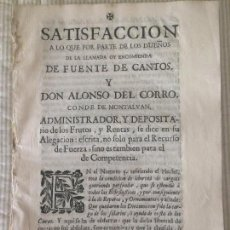 Libros antiguos: EXTREMADURA - FUENTE DE CANTOS - 1733 - ALONSO DEL CORRO - CONDE DE MONTALBAN. Lote 116617591