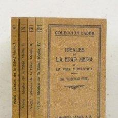 Libros antiguos: VALDEMAR VEDEL. IDEALES CULTURALES DE LA EDAD MEDIA. LABOR, 1927-1929. EN 4 TOMOS, COMPLETO]. Lote 121217074