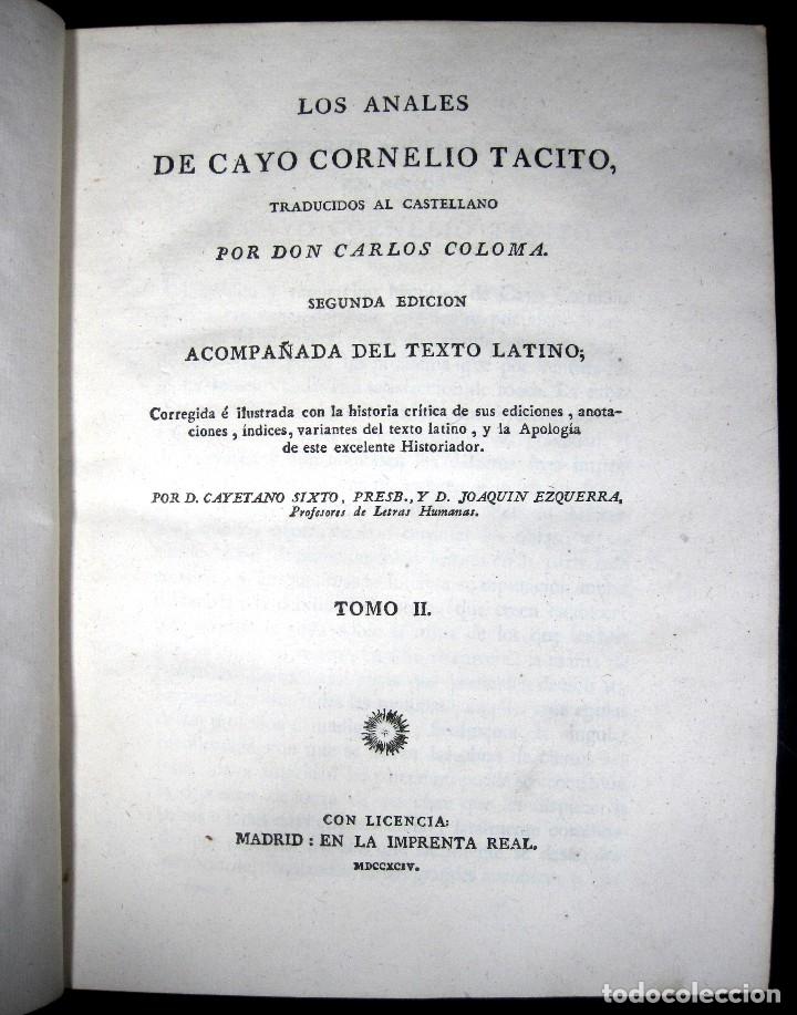 Libros antiguos: Año 1794 Los Anales de Tácito Imprenta Real Historia Antigua Roma Emperadores Cayo Castellano - Foto 16 - 49408753