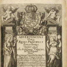 Libros antiguos: ADVERTENCIAS PARA REYES, PRINCIPES, Y EMBAXADORES. - BENAVENTE Y BENAVIDES, CHRISTOBAL DE.. Lote 114797915
