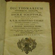 Libros antiguos: 1795. DICTIONARIUM HISTORICUM, CRITICUM, CHRONOLOGICUM, GEOGRAPHICUM ET LITTERALE SACRAE SCRIPTURAE. Lote 124655983