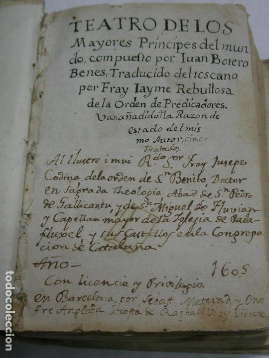 1605. TEATRO DE LOS MAYORES PRÍNCIPES DEL MUNDO. POR JUAN BOTERO BENES (Libros antiguos (hasta 1936), raros y curiosos - Historia Antigua)