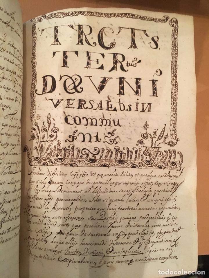 Libros antiguos: LIBRO DE PERGAMINO MANUSCRITO CON DOS ESCUDOS HERÁLDICOS PINTADOS , OBRA DE ARISTÓTELES DE LOGIA - Foto 5 - 129971236