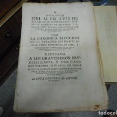 Libros antiguos: LIBRO DE MUSEO 1642 LIMA REINO DE PERU APOLOGIA PERGAMINO MUCHOS DATOS NOMBRES SUCESOS DE LA EPOCA. Lote 130250246