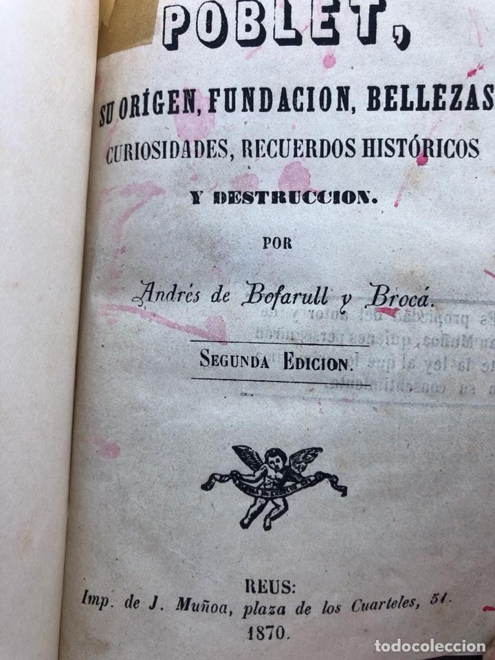 Libros antiguos: Libro Poblet 1870 Ex Libres - Foto 3 - 130896403