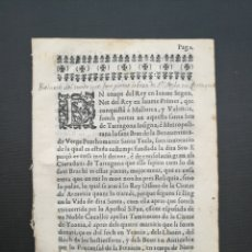 Libros antiguos: RELACIÓ EN QUE FOU PORTAT BRAÇ DE SANTA TECLA ANY 1676 TARRAGONA. Lote 133637933