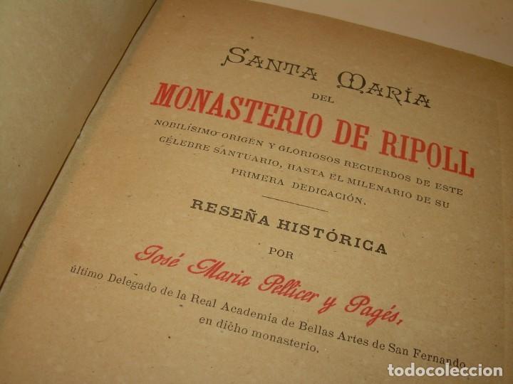INTERESANTE LIBRO TAPAS DE PIEL..SANTA MARIA DEL MONASTERIO DE RIPOLL...AÑO 1888. (Libros antiguos (hasta 1936), raros y curiosos - Historia Antigua)