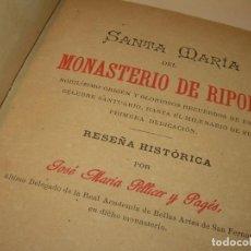 Libros antiguos: INTERESANTE LIBRO TAPAS DE PIEL..SANTA MARIA DEL MONASTERIO DE RIPOLL...AÑO 1888.. Lote 135332154