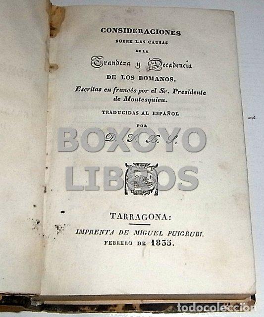 Libros antiguos: MONTESQUIEU. Consideraciones sobre las causas de la grandeza y decadencia de los romanos - Foto 2 - 136674310