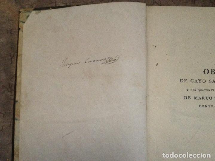 Libros antiguos: SALUSTIO: CICERÓN CONTRA CATILINA- 1786-1796- - Foto 3 - 138691494