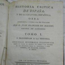 Libros antiguos: 1783. HISTORIA CRÍTICA DE ESPAÑA Y DE LA CULTURA ESPAÑOLA. TOMO I . Lote 124727887