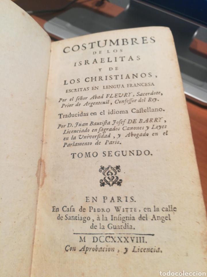 OSTUMBRES DE LOS ISRAELITAS Y LOS CRISTIANOS 1738 (Libros antiguos (hasta 1936), raros y curiosos - Historia Antigua)