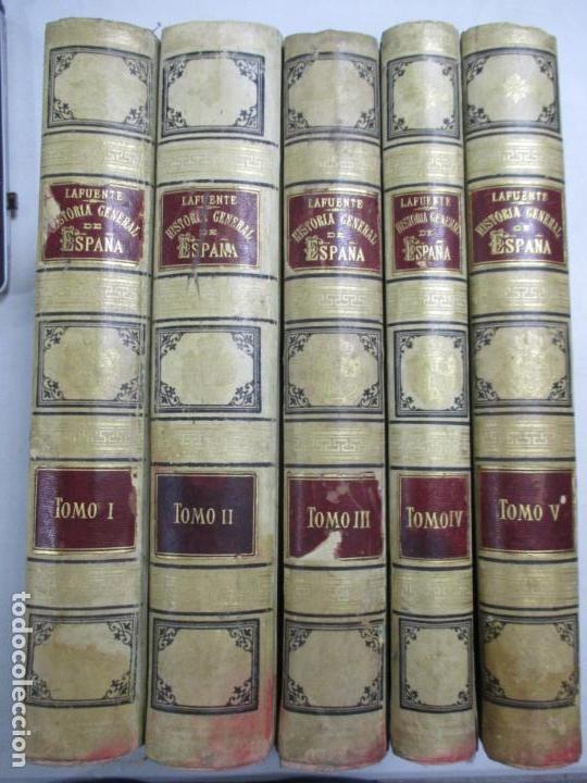 HISTORIA GENERAL DE ESPAÑA 1877. MODESTO LAFUENTE. EDICIÓN DE LUJO. 5 TOMOS. 34.5 X 25 CM (Libros antiguos (hasta 1936), raros y curiosos - Historia Antigua)