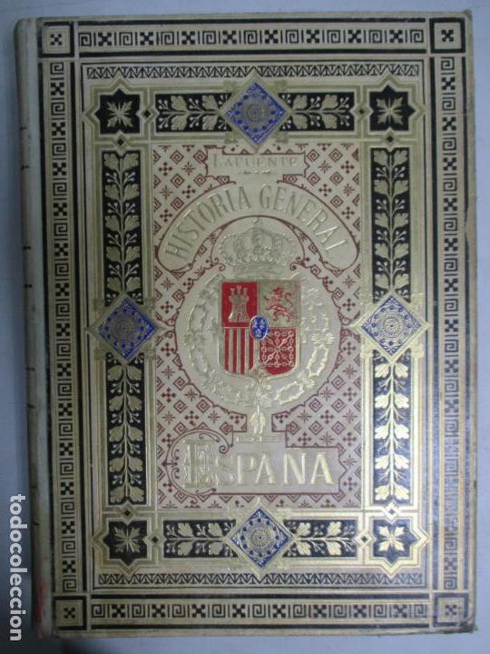 Libros antiguos: HISTORIA GENERAL DE ESPAÑA 1877. MODESTO LAFUENTE. EDICIÓN DE LUJO. 5 TOMOS. 34.5 X 25 CM - Foto 3 - 140848070