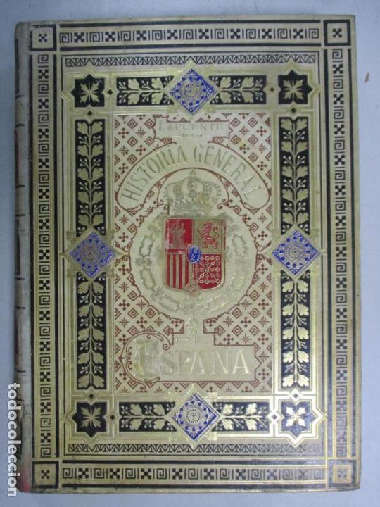 Libros antiguos: HISTORIA GENERAL DE ESPAÑA 1877. MODESTO LAFUENTE. EDICIÓN DE LUJO. 5 TOMOS. 34.5 X 25 CM - Foto 5 - 140848070