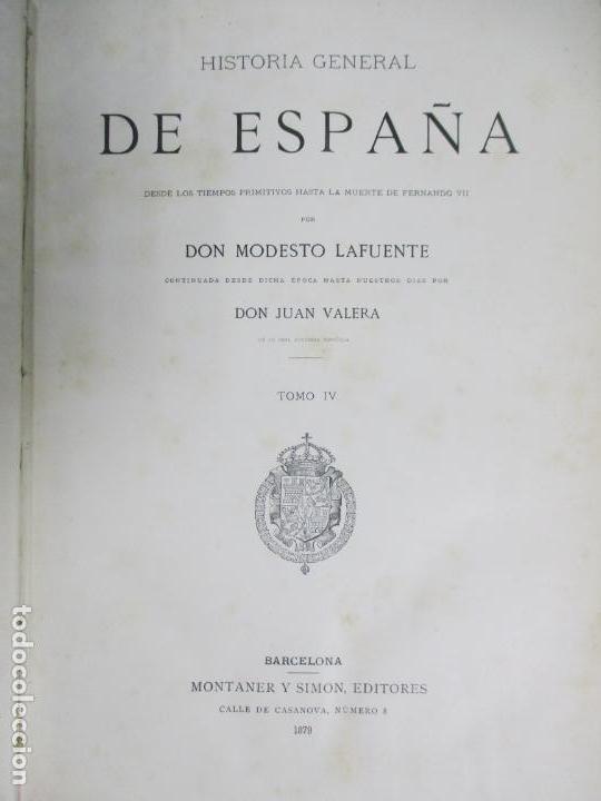 Libros antiguos: HISTORIA GENERAL DE ESPAÑA 1877. MODESTO LAFUENTE. EDICIÓN DE LUJO. 5 TOMOS. 34.5 X 25 CM - Foto 6 - 140848070