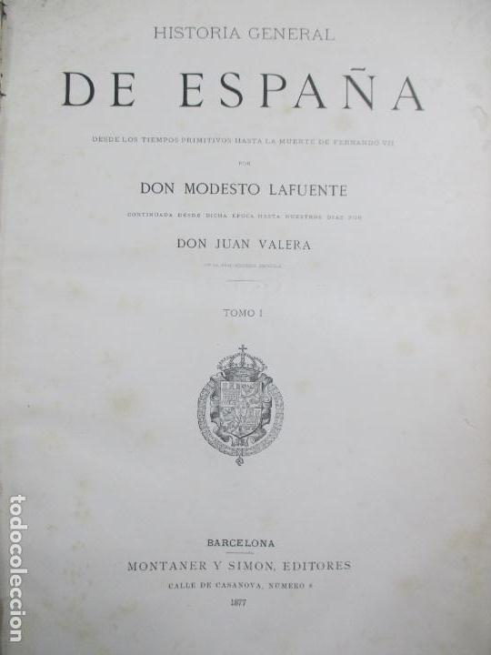 Libros antiguos: HISTORIA GENERAL DE ESPAÑA 1877. MODESTO LAFUENTE. EDICIÓN DE LUJO. 5 TOMOS. 34.5 X 25 CM - Foto 12 - 140848070