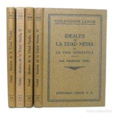 Libros antiguos: 1931 IDEALES CULTURALES DE LA EDAD MEDIA - HÉROES, MONJES, CABALLEROS - 4 TOMOS ILUSTRADOS, LÁMINAS. Lote 140900994